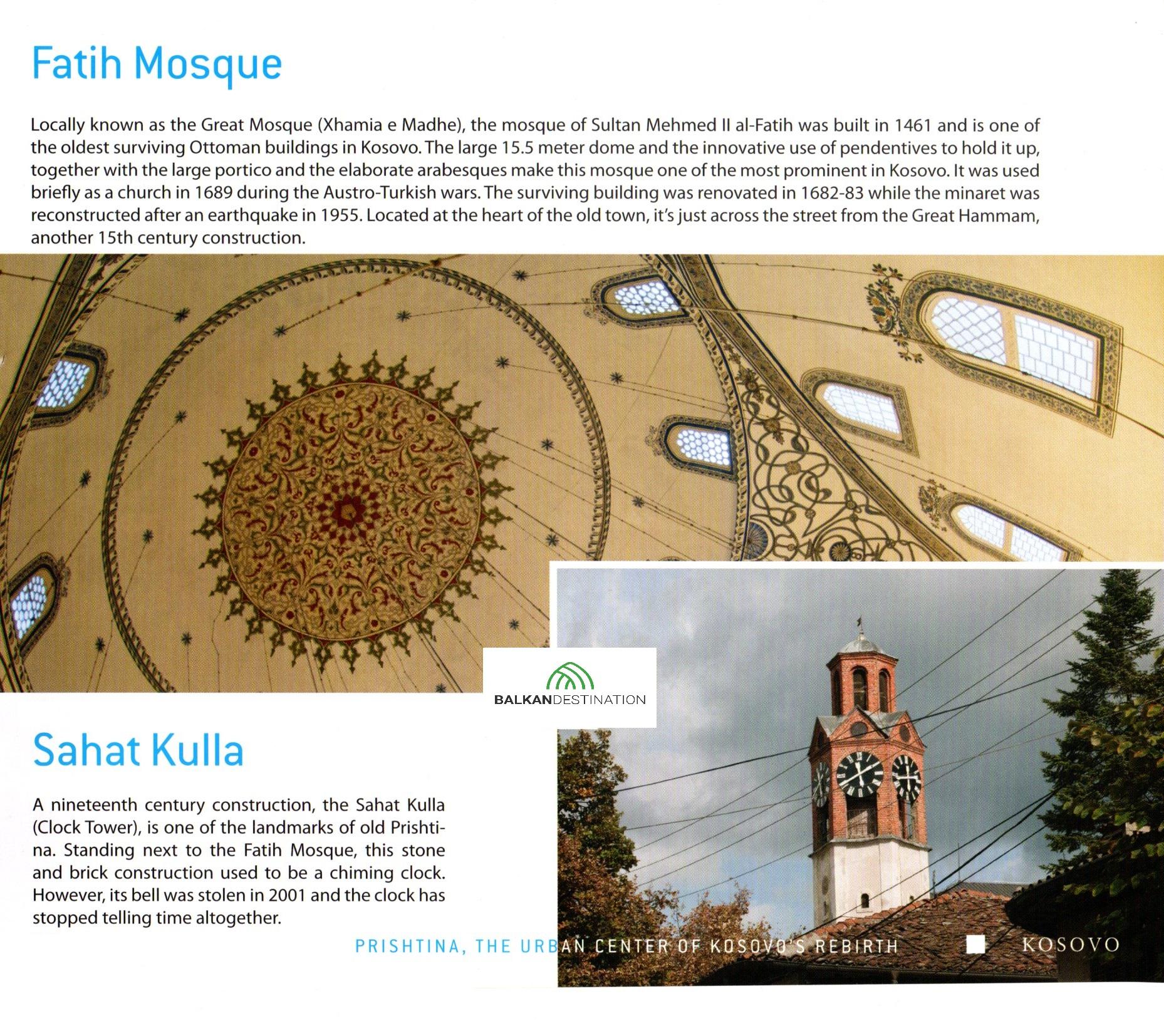 balkandestination fatih mosque clocktower pristina kosovo